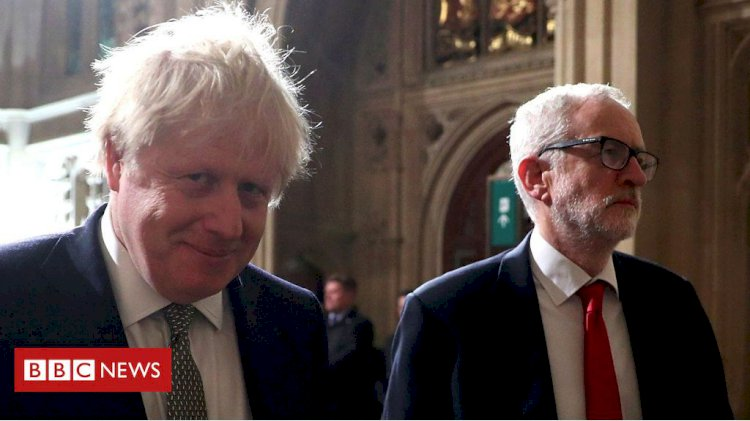 Queen's Speech: Johnson and Corbyn in tense walk to the House of Lords